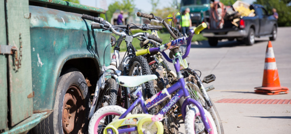 Photo of bikes ready for spring cleanup day