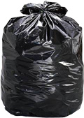 Filled black garbage bag