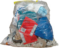 Clear garbage bag filled with trash