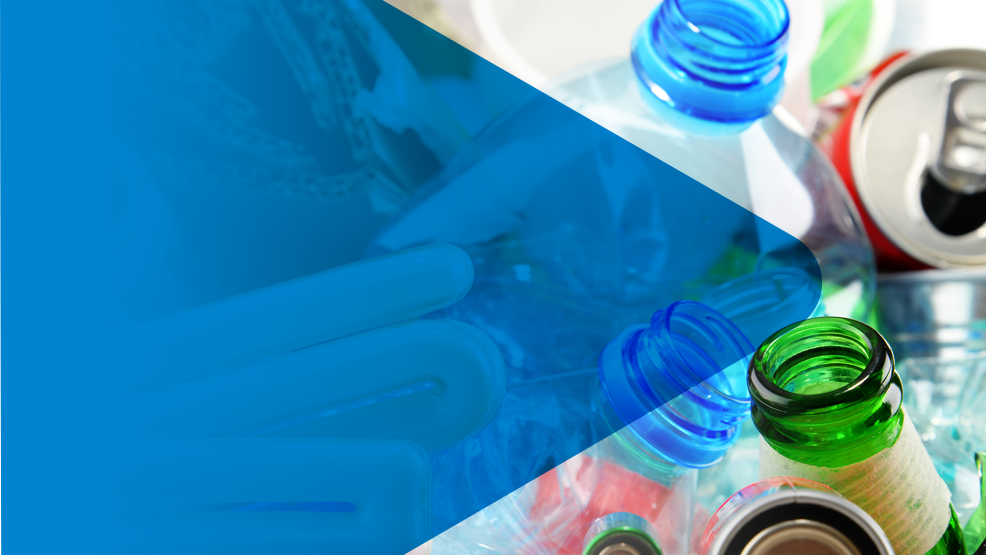Photo of tops of bottles, glass and plastic