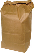 Photo of paper bag filled with yard waste