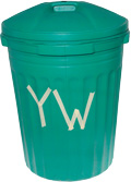 Photo of green yard waste container with YW on it