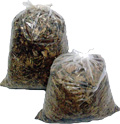 Photo with yard waste in two see through bags