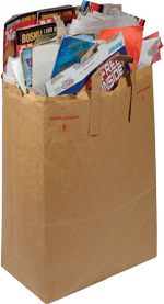 Photo of paper sack filled with paper recyclables